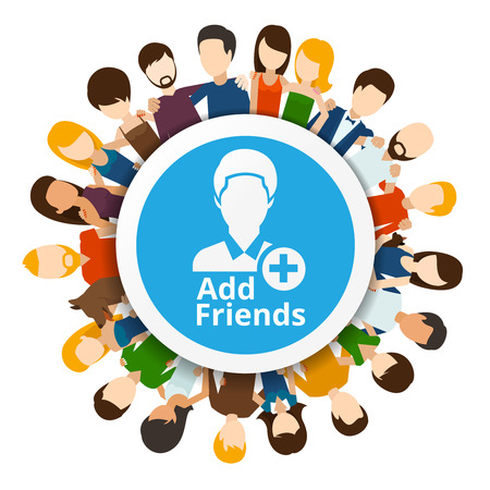 comunidad: Añadir amigos a la red social. Internet Comunidad, la amistad web, ilustración vectorial