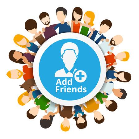 ajouter: Ajouter des amis à réseau social. Internet communautaire, l'amitié web, illustration vectorielle