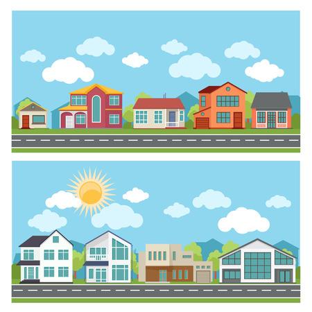 case colorate: Bandiere di vettore con le case per vacanze in stile design piatto. Architettura e costruzione, città e urbano della città appartamento illustrazione