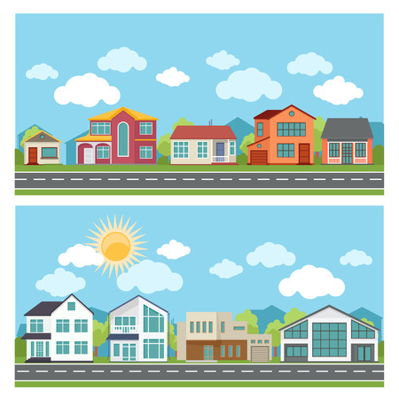 Vector banners with cottage houses in flat design style. Architecture and building,  town and urban city apartment illustration