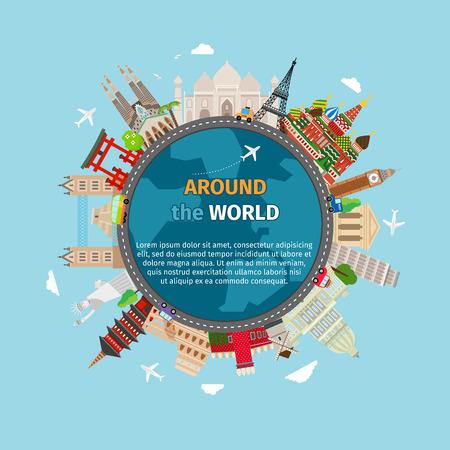 du lịch: Du lịch vòng quanh thế giới bưu thiếp. Du lịch và nghỉ mát, đất thế giới, cuộc hành trình toàn cầu, minh hoạ vector
