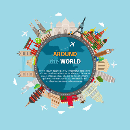 Travel around the world postcard. Tourism and vacation, earth world, journey global, vector illustration Stock Illustratie
