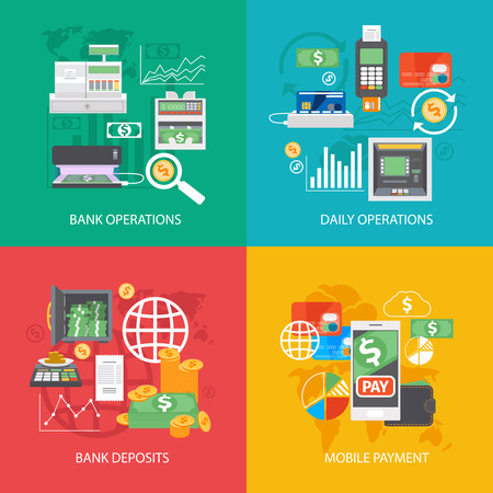 global finance: Bank equipment and payment concepts. Finance and credit, financial and money, global buy. Vector illustration
