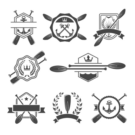 Rowing logo and paddle badges. Oar and shield, rowing and river sport. Vector illustration Illustration