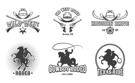 rodeo americano: Vector Wild West Rodeo y etiquetas. Vaquero de Tejas, sello y sombrero, diseño retro americana. Ilustración vectorial