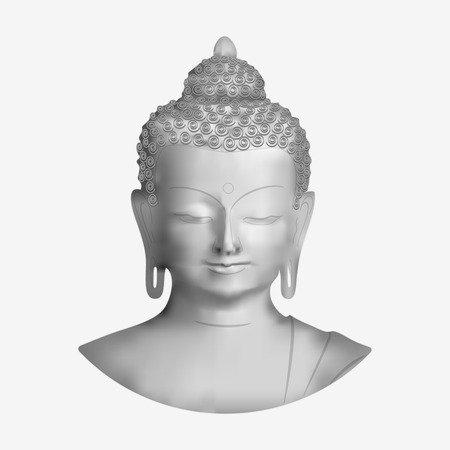 sculpture: Vector Buddha face isolated on white background