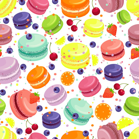 biscuit: Macaroons seamless pattern. Food and dessert, sweet and tasty, vector illustration Illustration