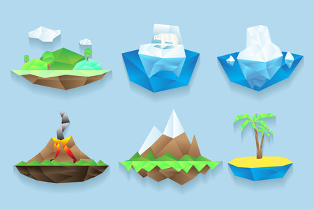 Vector poly islands set. Sea and water, floe and frozen bear, iceberg and climate, ground object illustration Illustration