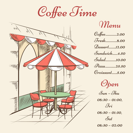 the place is outdoor: Vector street cafe poster. City and architecture, outdoor menu, town and tourism