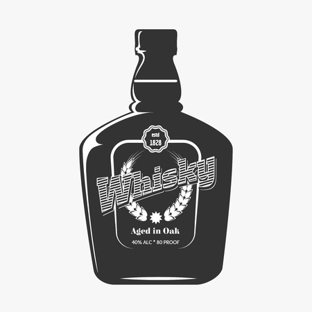 bourbon whisky: Retro whisky label. Beverage drawing illustration, vector design bottle product Illustration