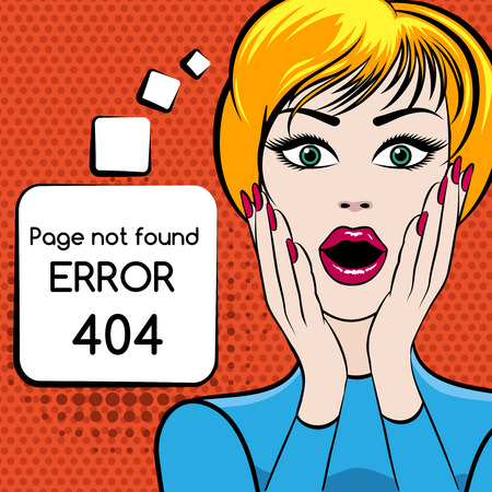 looks: 404 Page not found vector illustration. Web internet problem, woman with open mouth. Vector illustration Illustration