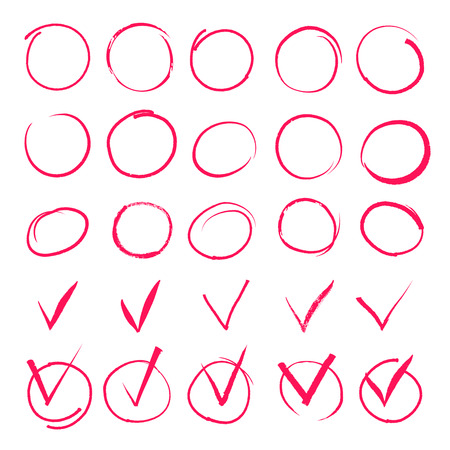 check symbol: Set of hand drawn highlight red circles and check mark icons. Sign  important, symbol element handwritten, vector illustration
