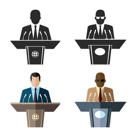 rhetorical: Speaker or orator icon in black and flat style. Microphone and leader business, tribune and presentation, spokesman and conference. Vector illustration