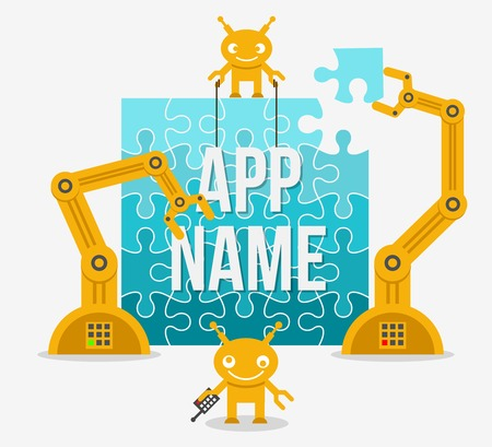 realization: Building app or site from idea to realization. Web mobile business, vector illustration Illustration