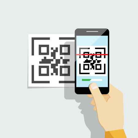 Capture QR code on mobile phone. Digital technology, information barcode, symbol electronic scan. Vector illustration Çizim