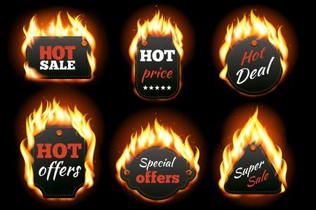 Étiquettes vecteur d'incendie fixées. Prix ??et la vente, et de beaucoup l'offre, étiquette ou badge spécial, promotion de l'entreprise. Vector illustration