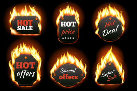 price: Vector fire labels set. Price and sale, deal and offer, special tag or badge, business promotion. Vector illustration Illustration