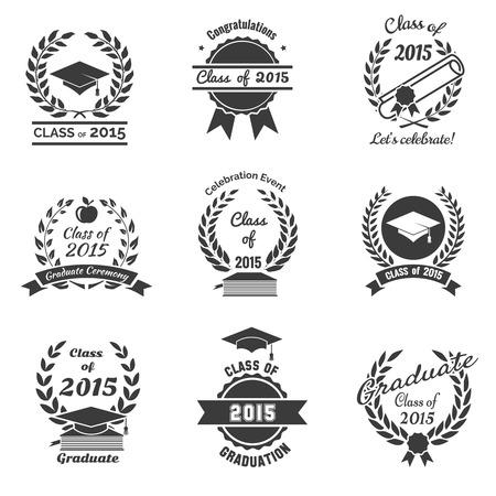 Etiquetas de graduación. Escuela Secundaria y felicitaciones logotipo graduado del conjunto. Estudio de la universidad, diploma y diseño del sombrero. Ilustración vectorial