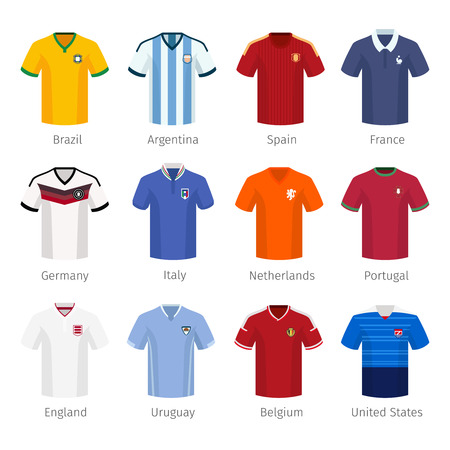 camisas: Uniforme del f�tbol o el f�tbol de selecciones nacionales. Argentina Brasil Espa�a Francia Italia Pa�ses Bajos Portugal inglaterra. Ilustraci�n vectorial