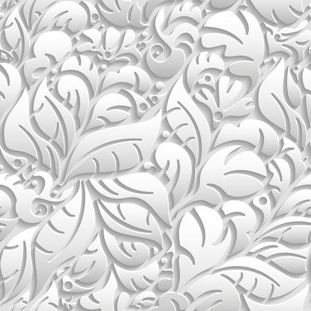 motif floral: Vector floral seamless 3d avec l'ombre