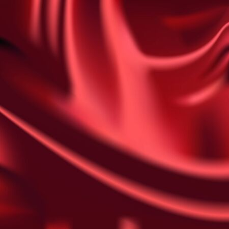 wavy fabric: Red wavy silk fabric drapery background abstract cloth illustration