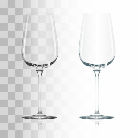 wine background: Empty drinking transparent wine glass vector illustration
