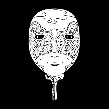 white mask: Hand drawn venetian white  mask on black background Vectores