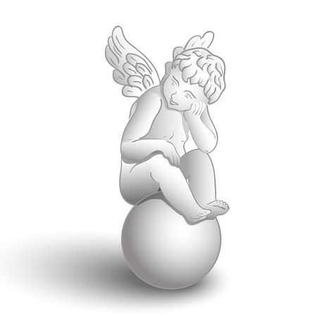Little white angel with wings sitting on ball