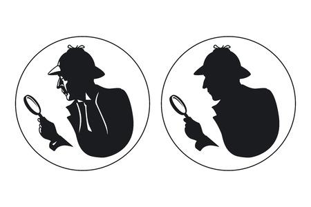 探偵のシルエット。エージェントのスパイ、秘密と神秘的な帽子の男人間の検査官