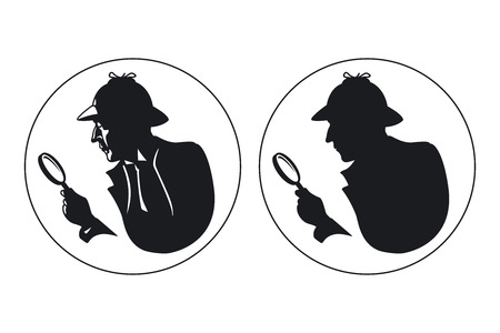 magnify: Detective  silhouette. Man in hat, agent spy, private and mysterious, human inspector