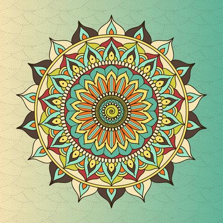 sacred symbol: ethnic oriental circle mandala. Sacred symbol, meditation flower, decoration ethnic, tribal motif illustration Illustration