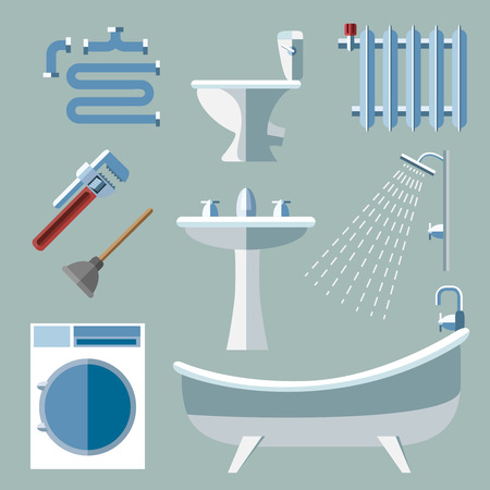 plumbing tools: Pipeline plumbing icons in flat style. Faucet and water, battery and canalization, sewerage and pipe.