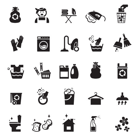 bag icon: Cleaning icons set. Vacuum and mop, glove and bucket, sponge and brush.  Illustration