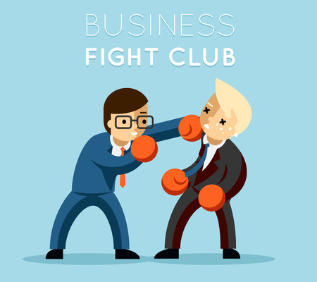 ビジネスの戦いクラブ。ボクシング、グローブ、ビジネスマンや暴力、ボクサーの強さ。  イラスト・ベクター素材