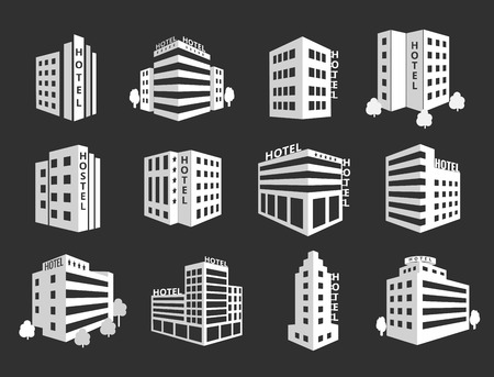 hotel building: set of hotel icons. Business building, architecture residential illustration Illustration