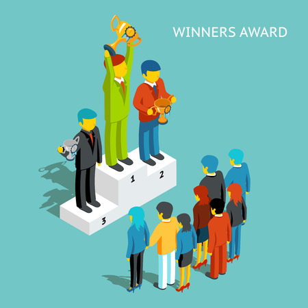 trophy winner: Business award winners. Successful business people with cups, 3d isometric. Victory champion, winner and first man, businessman reward, win competition