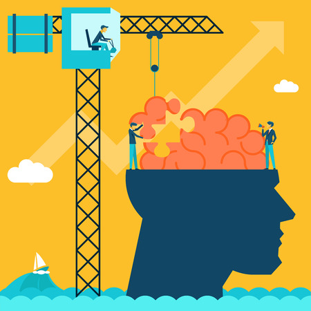 Man with brain puzzle. Creative concept background. Puzzle and create build, crane and head, businessman and conceptual, imagination.