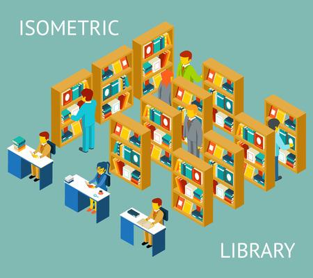 biblioteca: Biblioteca en el estilo plano isométrico. Las personas entre los estantes. Universidad y conocimiento, lectura y educación Vectores