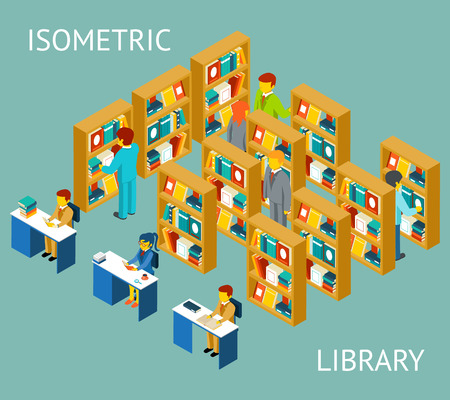 study: Library in isometric flat style. People among bookshelves. University and knowledge, read and education Illustration