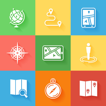 navigation icons: Cartography, location and navigation icons with shadow. Travel gps, pin marker, mapping and direction.