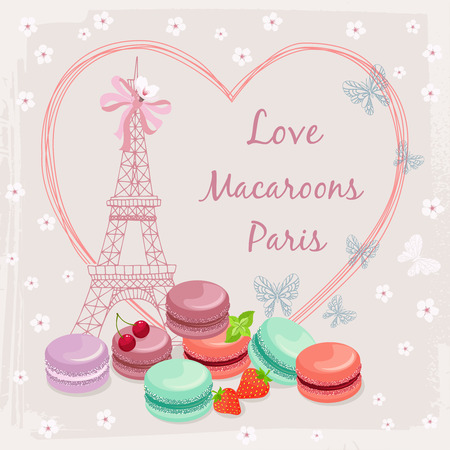 Poster with french macaroon cakes and the Eiffel Tower. Travel and food, design sweet and landmark.  Illustration