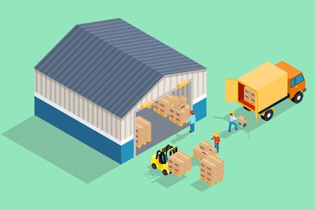Almacén isométrica. Carga y descarga desde el almacén. Almacenamiento y camiones, la industria del transporte, entrega y logística. Ilustración de vector