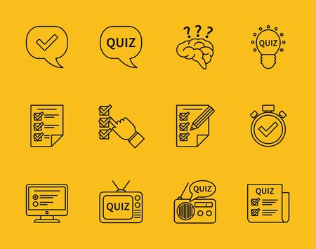 quiz test: Set of  line quiz icons. Question and answer, game education, questionnaire and test