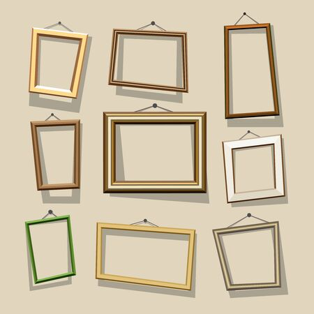 photo frames: cartoon frames set. Picture and photo, empty and border, art decoration, gallery and exhibition