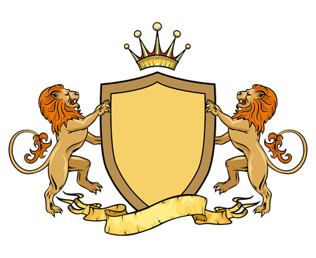 Heraldic lions with shield and ribbon. Emblem or badge template. Heraldic and crest, medieval royal  Illustration