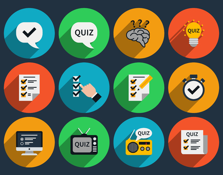 mind set: Mind games and quizzes flat icons. Question and answer, questionnaire and sign symbol.