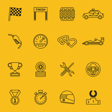 racing flag: Race flag and line racing icons. Track speed, competition and winner, champion  Illustration