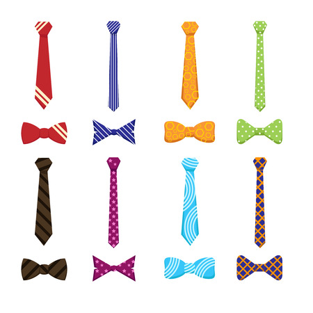 Flat ties and bow ties icons. Necktie clothing, wear formal accessory, elegance knot, style, design.