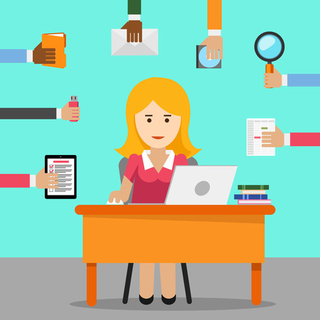 multitask: Secretary. Busy woman for office work. Female cartoon, businesswoman and worker, laptop and occupation. Illustration