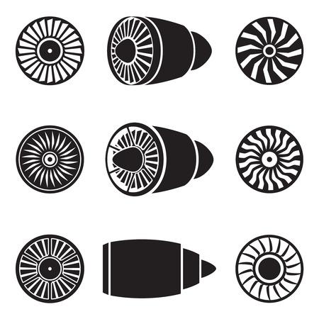 Turbinen-Icons gesetzt. Technologie Flugzeuge, Motorleistung, Klinge und Ventilator. Standard-Bild - 43140972
